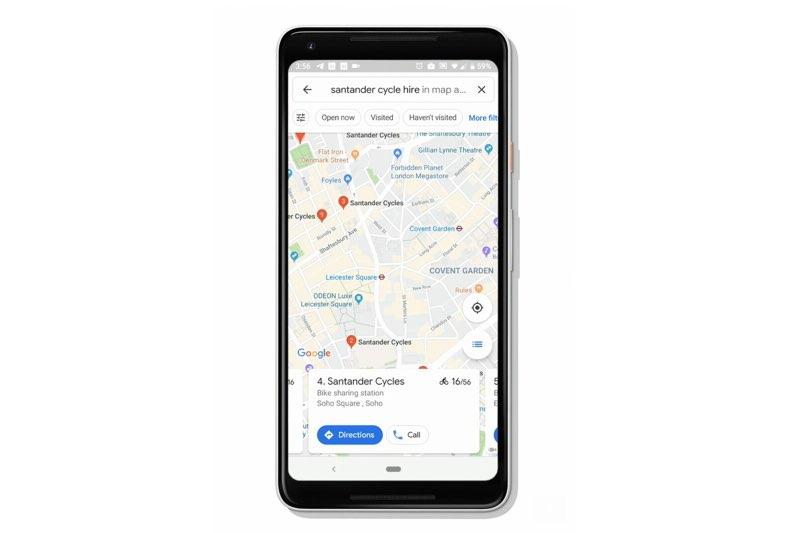 Google Maps laat zien waar je deelfietsen kunt vinden