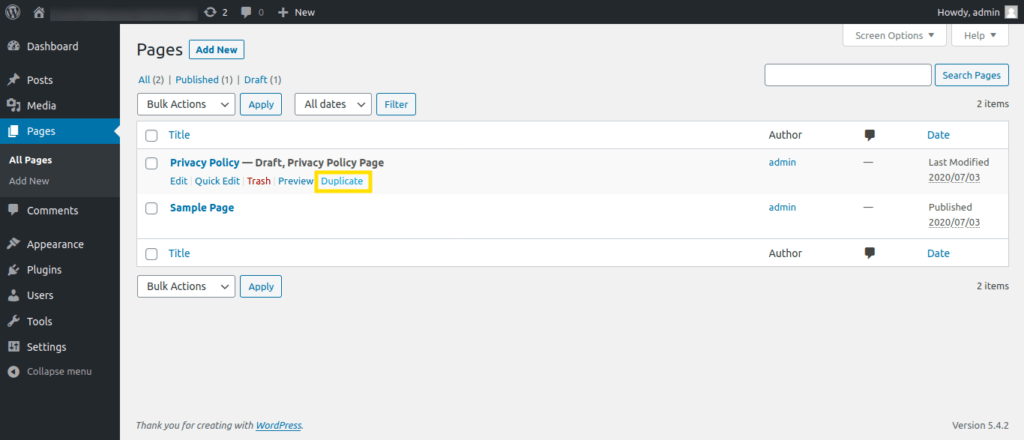 "Screenshot of the WordPress Pages screen highlighting the newly added ""Duplicate"" link"