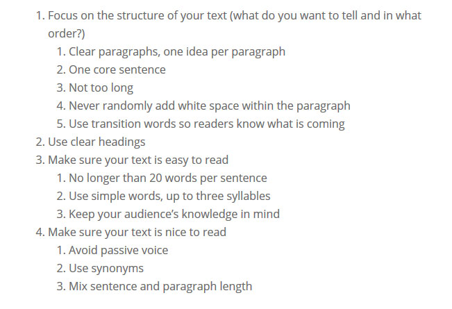 yoast tips for content formatting