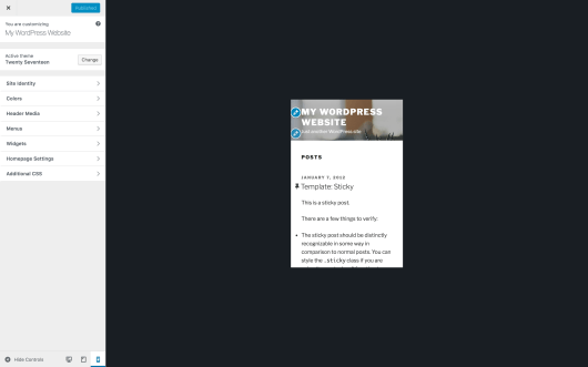 The WordPress Customizer, showing the mobile preview option.
