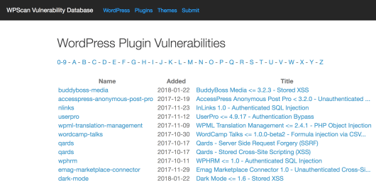 WP Scan's WordPress Vulnerability Database.