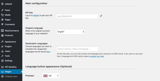 The Weglot translation configuration page in WordPress.