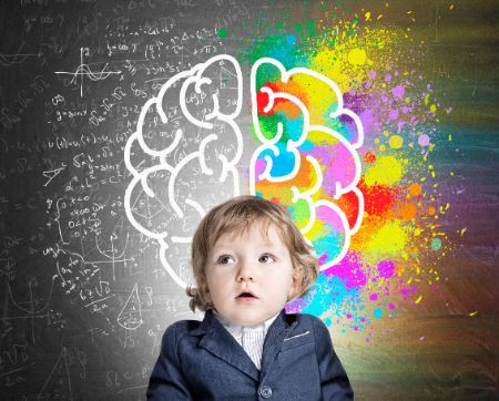 10 Ways To Stimulate Baby Brain, These Tips Will Boost Baby Brain Development - Little boy and a colorful brain sketch