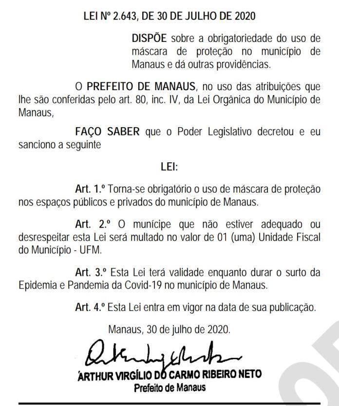 Decreto Municipal sobre uso de máscaras