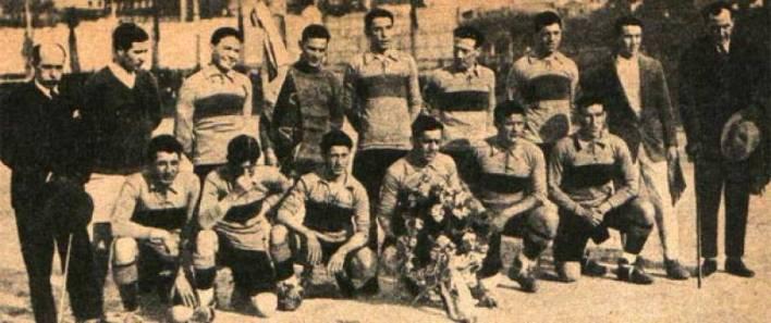 Caffarena é o segundo em pé, da esquerda para a direita