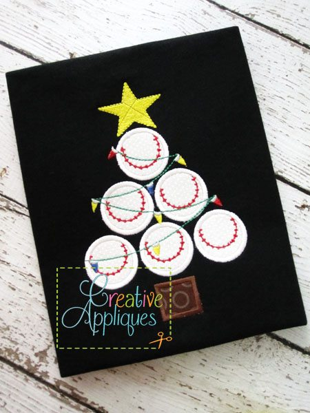 Create your diy project using your cricut explore, silhouette and more. Baseball Softball Christmas Tree Applique Creative Appliques