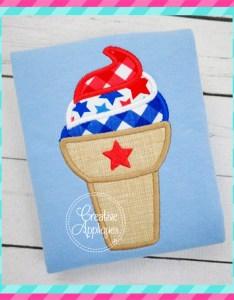 Patriotic ice cream cone applique also creative appliques rh creativeappliques