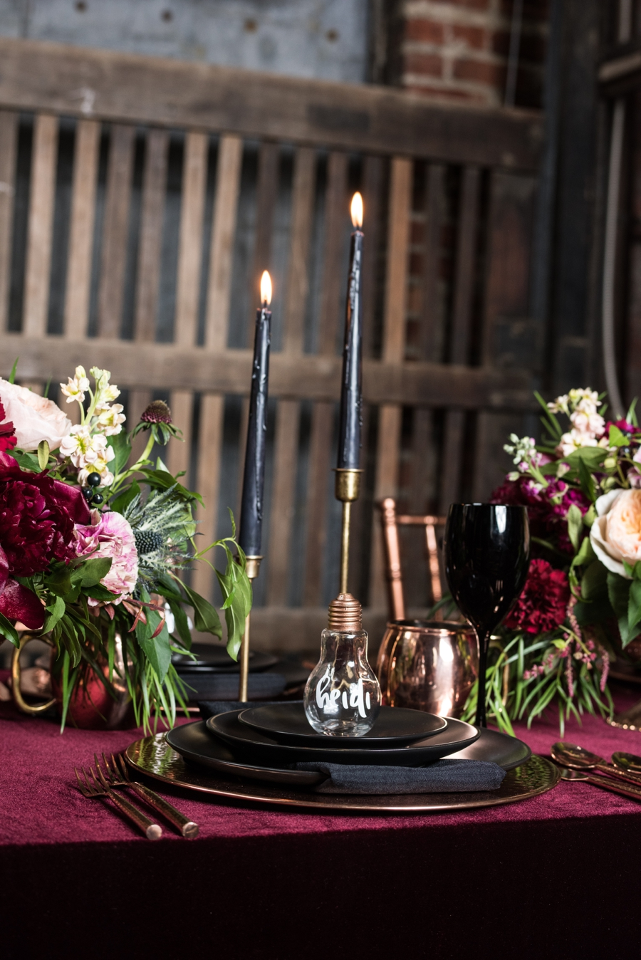 Moody Burgundy  Black Industrial Wedding Ideas  Every Last Detail