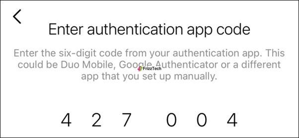 Instagram Security 2FA set key details enter