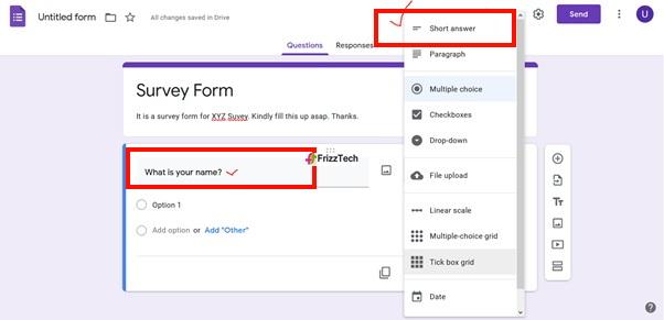 Google Forms screen survey form