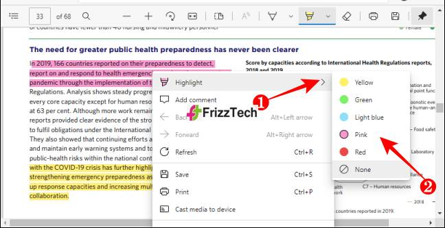 Change Highlight Color of PDF in Microsoft-Edge