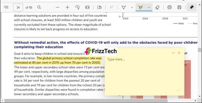 Comment Box on PDF in Microsoft-Edge