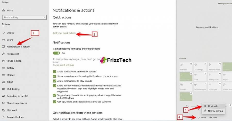 Add Bluetooth by Notification