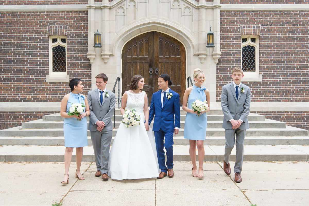 bridal party in front of herrick chapel for wedding