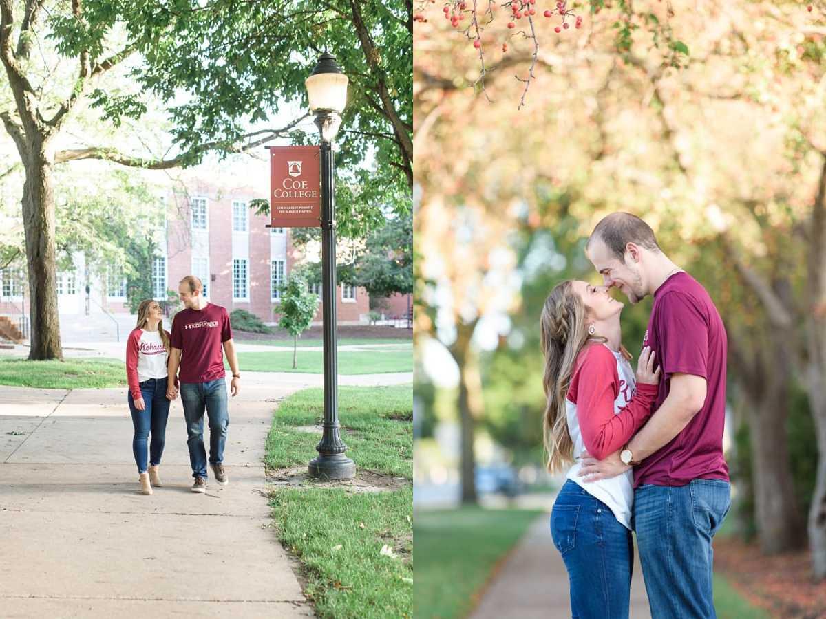 Coe College Kohawks engagement photos with Coe T-shirts