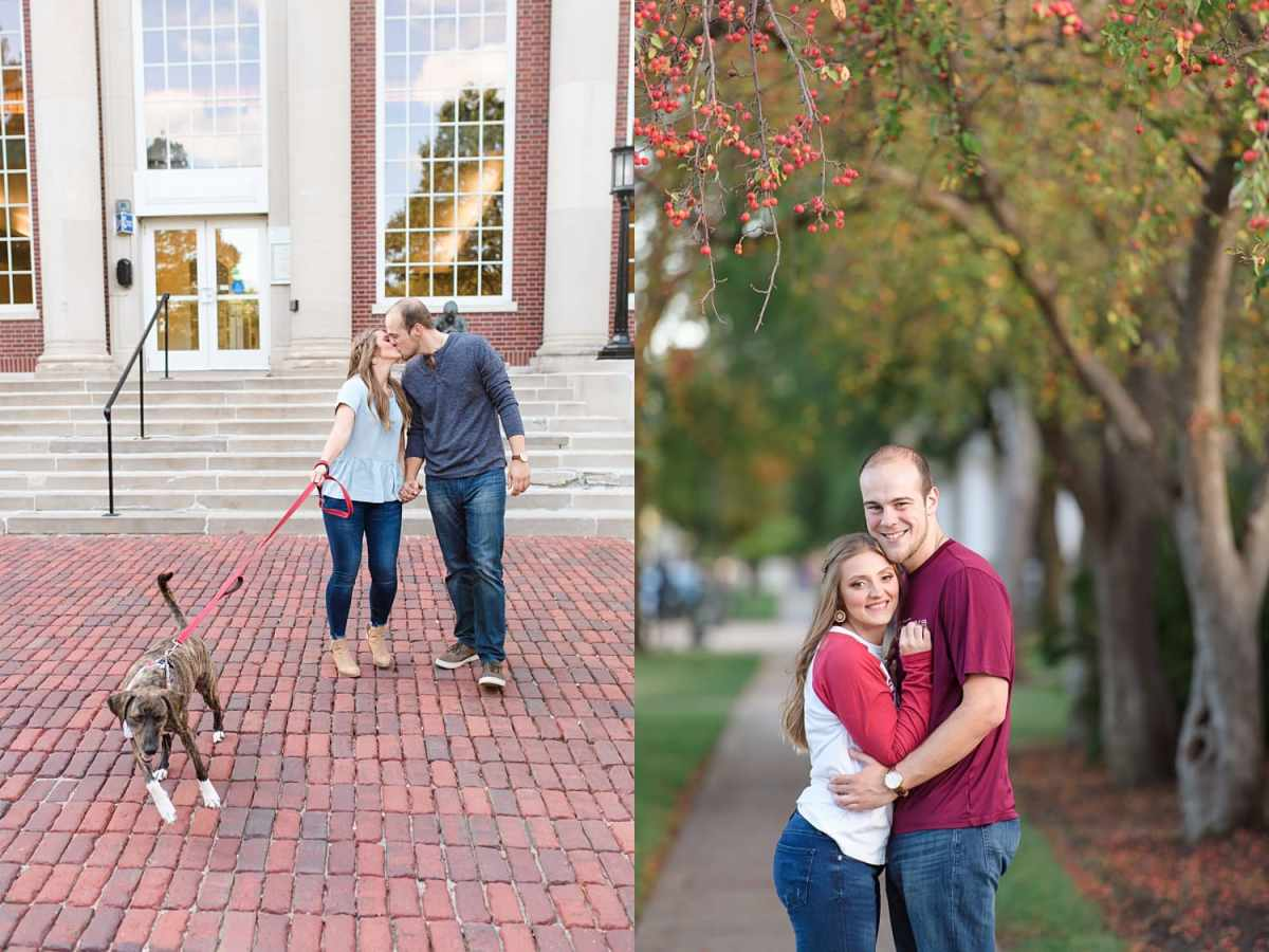 Engagement session with puppy dog at Coe College