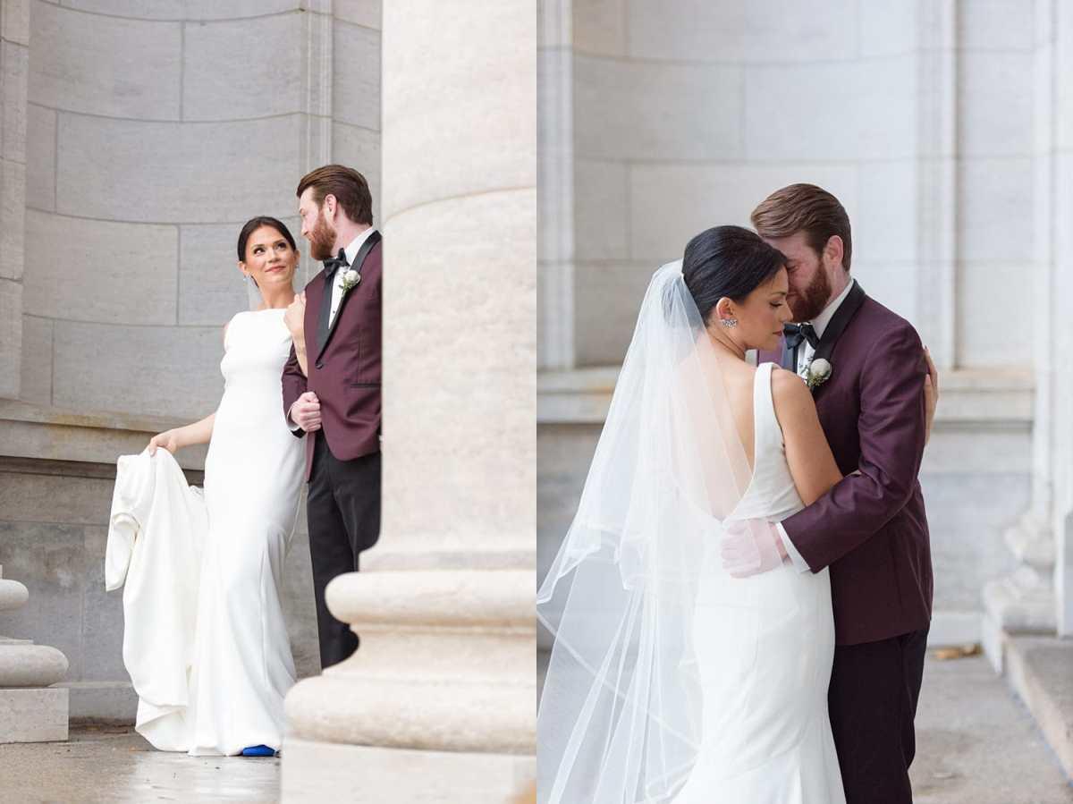 bride and groom walk hand in hand