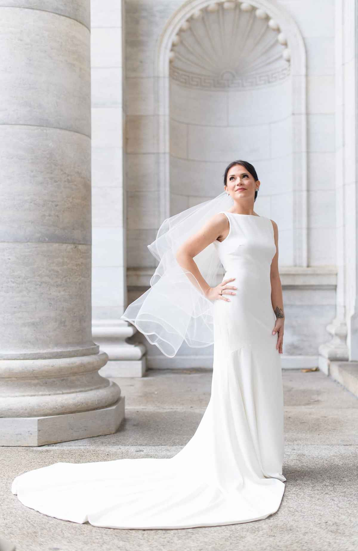 simple modern white bridal gown