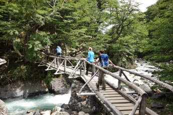 Torres del Paine National Park crossing bridge