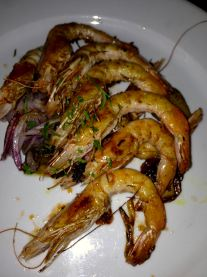 La Huella grilled prawns