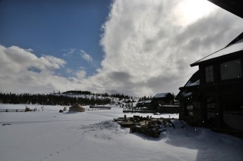 Devil's Thumb Ranch clouds buildings