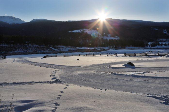Devil's Thumb Ranch sunrise snow