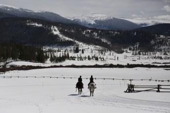 Devil's Thumb Ranch horse riders snow