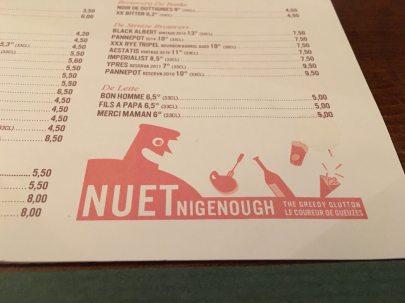 Brussels Nuetnigenough menu