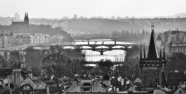 Prague bridges B&W