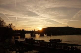Prague skyline sunset