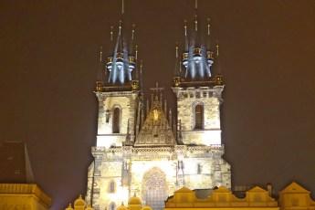Prague square church at night