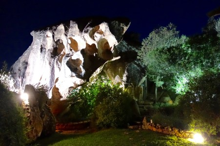Domaine de Murtoli La Grotte rocks at night