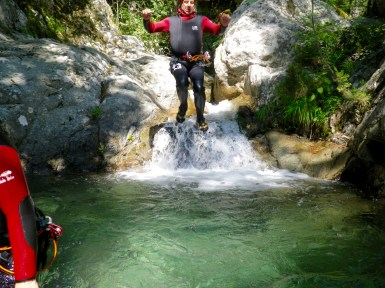 Canyoning in Corsica jump