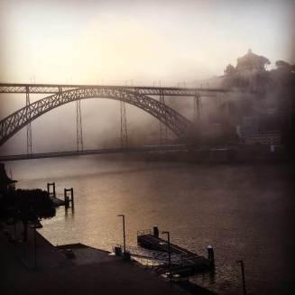 Porto Ribeira bridge in fog