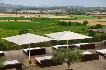 Castell d'Emporda terrace umbrellas