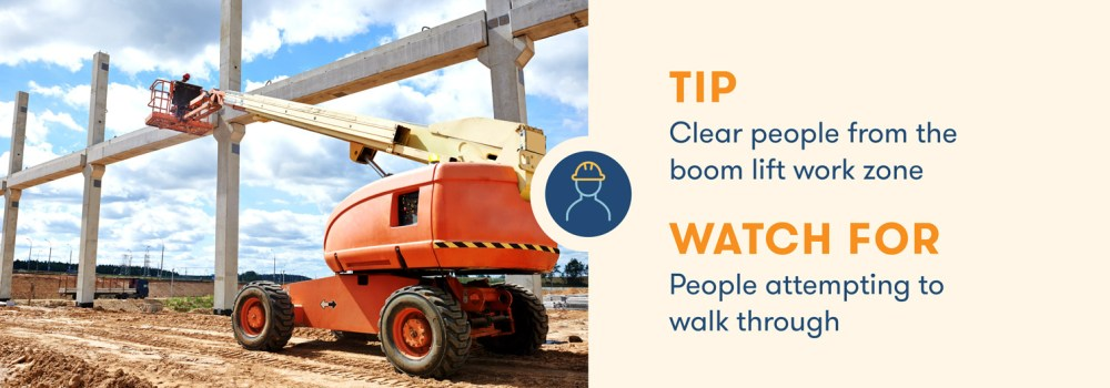 medium resolution of aerial lift safety clear people from the boom lift work zone