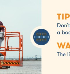aerial lift safety don t lift heavy supplies in boom lift [ 1510 x 530 Pixel ]