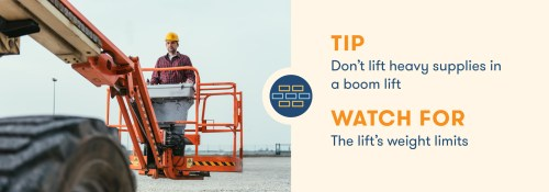 small resolution of aerial lift safety don t lift heavy supplies in boom lift