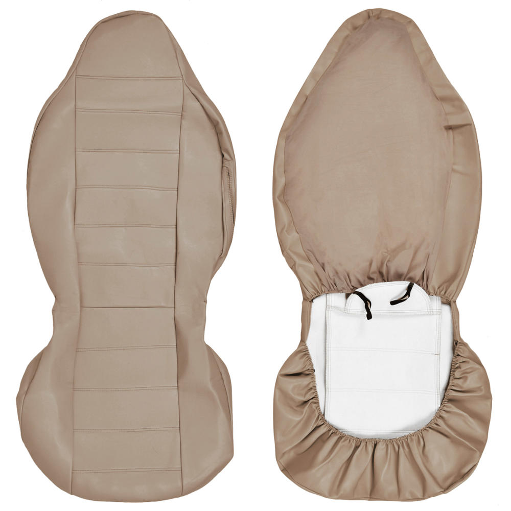 Beige Tan Pu Leather Car Seat Covers  High Back Deluxe