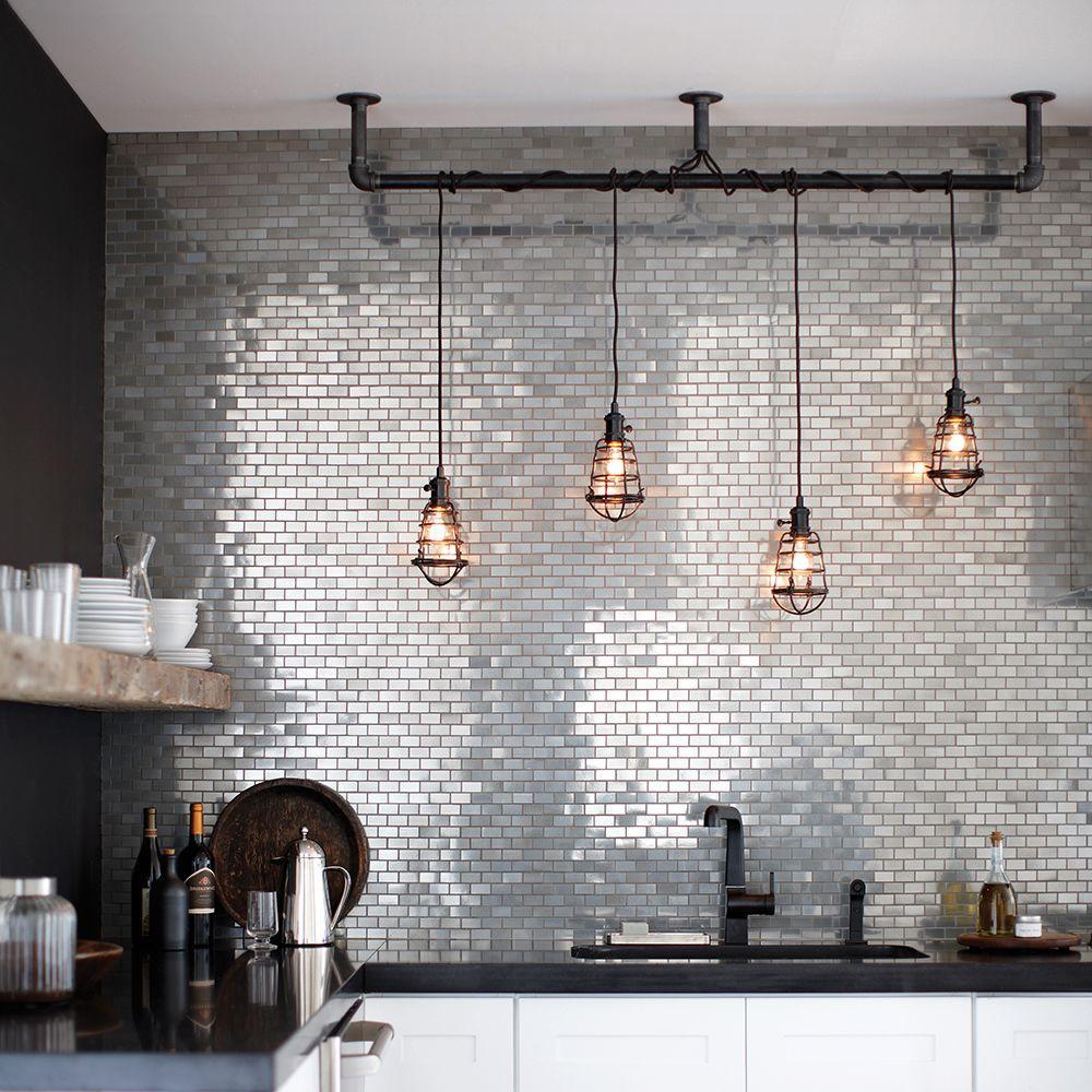 6 kitchens with metal tile backsplashes