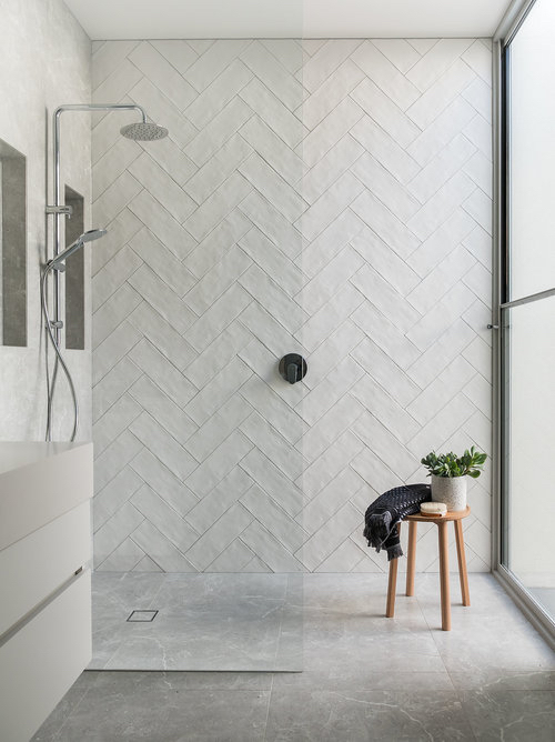 subway tile shower ideas and