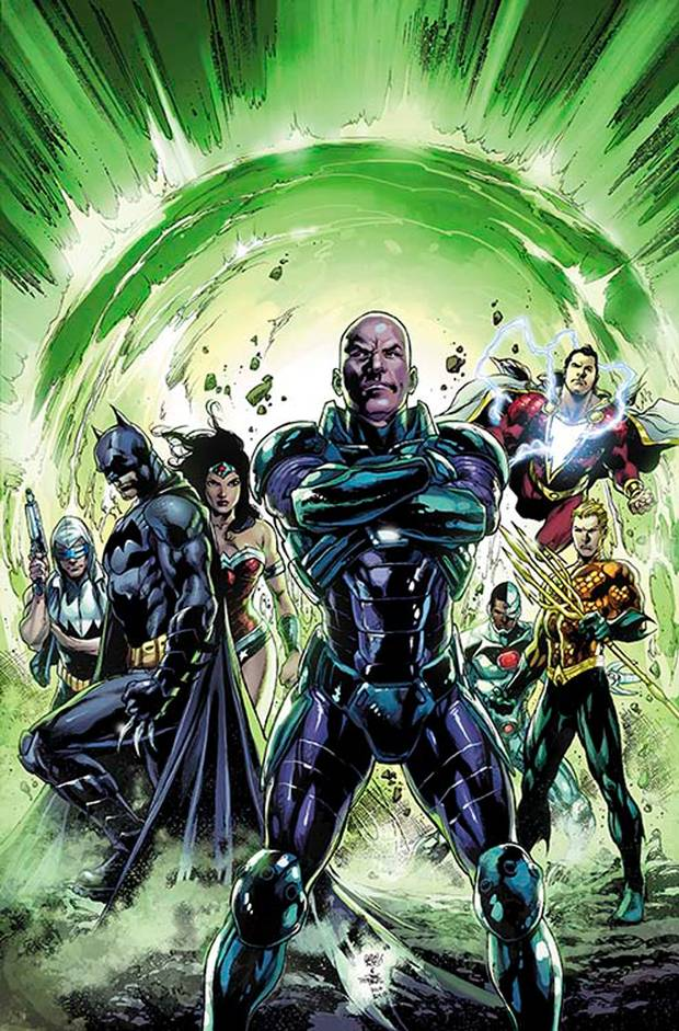 Lex will attempt to play the role of hero once Forever Evil ends. Cover art to Justice League #30 by Ivan Reis and Joe Prado.