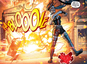 SECRET ORIGINS #4 - Harley Quinn walks away from an explosion