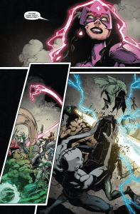 GREEN LANTERN: NEW GUARDIANS #34 - Carol smiles as the prisoners are freed