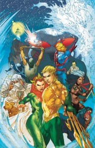 Aquaman and his wife Mera along with the Others (clockwise from the bottom left) Kahina the Seer, Prisoner-of-War, Vostok, and Ya'Wara.