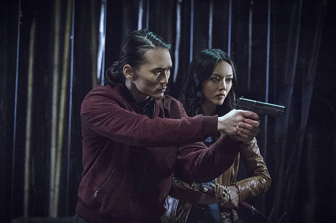 "Arrow -- ""Broken Arrow"" -- Image AR319A_0478b--Pictured (L-R): Karl Yune as Maseo and Rila Fukushima as Tatsu Yamashiro -- Photo: Cate Cameron/The CW -- © 2015 The CW Network, LLC. All Rights Reserved"