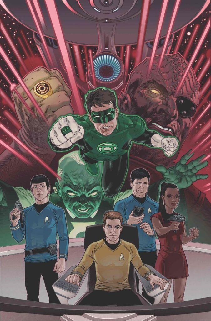 """""""Star Trek/Green Lantern: The Spectrum War"""" variant cover by Gabriel Rodriguez."""