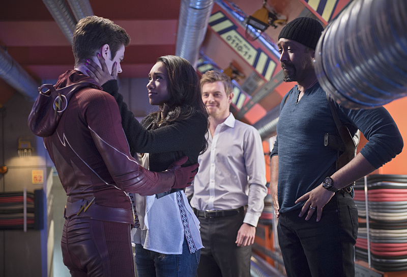 "The Flash -- ""Fast Enough"" -- Image FLA123A_0127b -- Pictured (L-R): Grant Gustin as Barry Allen, Candice Patton as Iris West, Rick Cosnett as Detective Eddie Thawne and Jesse L. Martin as Detective Joe West -- Photo: Diyah Pera/The CW -- © 2015 The CW Network, LLC. All rights reserved."
