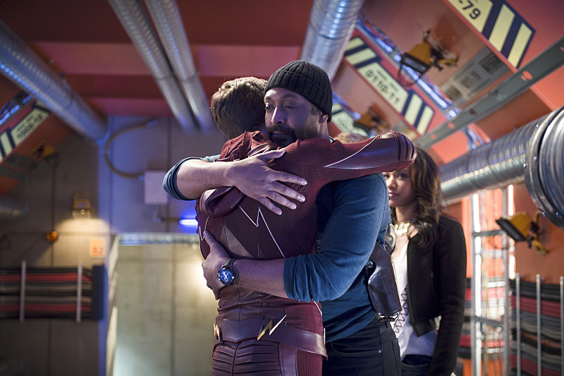 "The Flash -- ""Fast Enough"" -- Image FLA123A_0106b -- Pictured (L-R): Grant Gustin as Barry Allen, Jesse L. Martin as Detective Joe West and Candice Patton as Iris West -- Photo: Diyah Pera/The CW -- © 2015 The CW Network, LLC. All rights reserved."