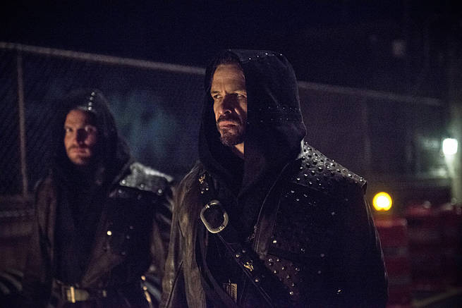 """Arrow -- """"My Name is Oliver Queen"""" -- Image AR323C_0138b -- Pictured (L-R): Stephen Amell as Oliver Queen and Matt Nable as Ra's al Ghul -- Photo: Cate Cameron/The CW -- © 2015 The CW Network, LLC. All Rights Reserved."""